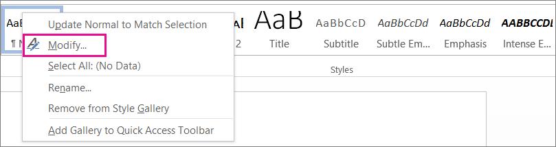 Create and modify styles dialogue box